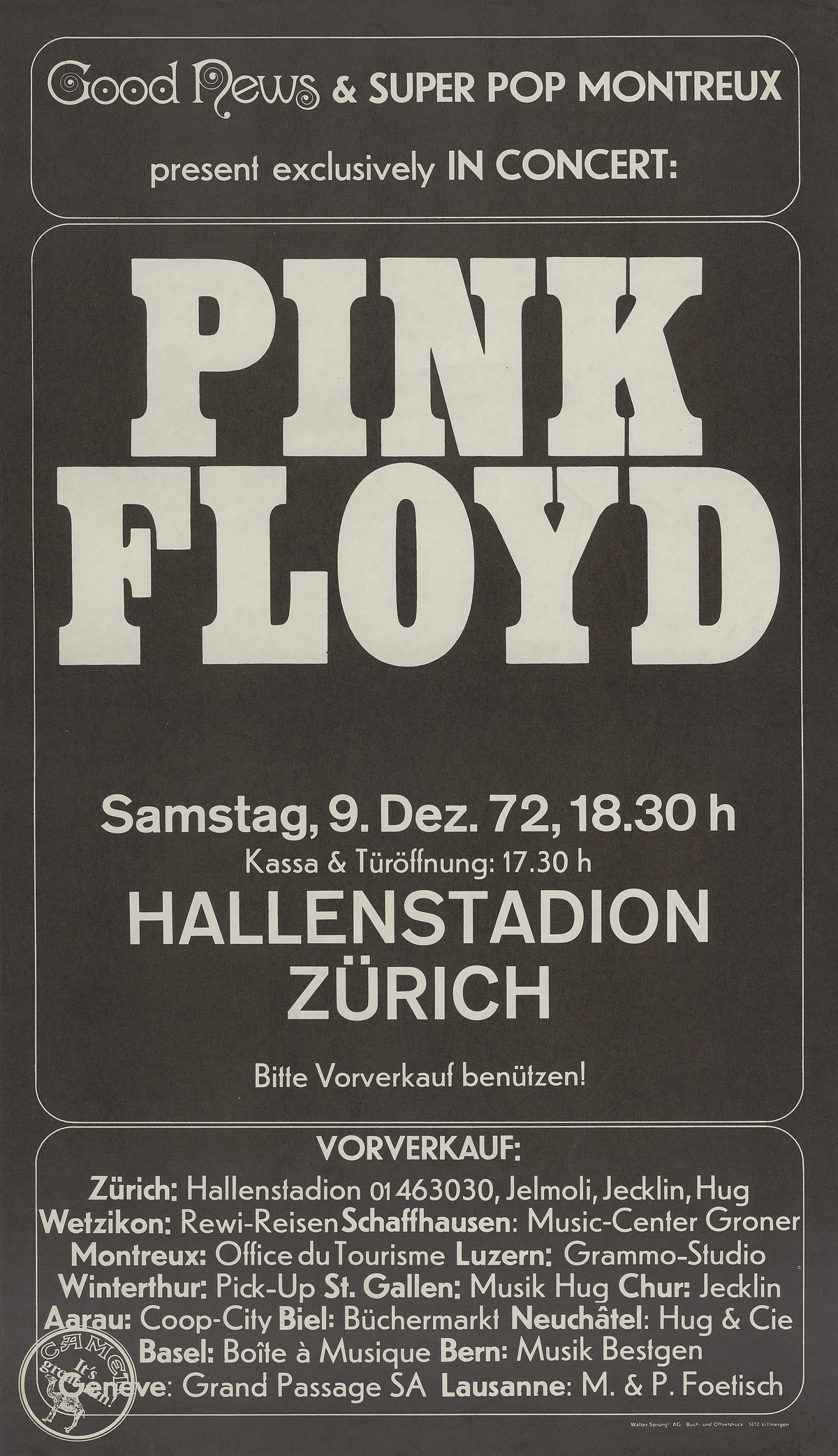 Good news Konzertplakat Pink Floyd Zürich hallenstadion Dezember 1972
